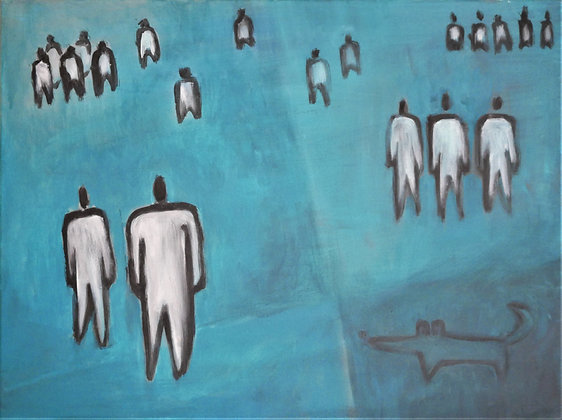 Symbolic blue painting on canvas, people and dog, expats closeup