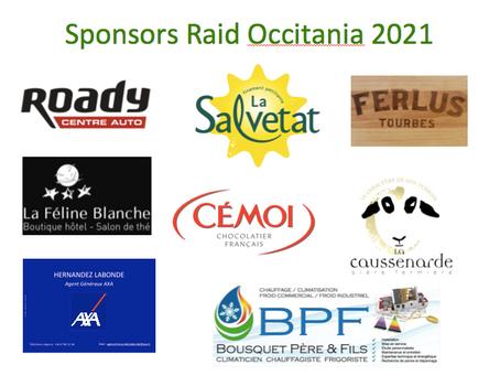 Nos sponsors Raid Occitania 2021