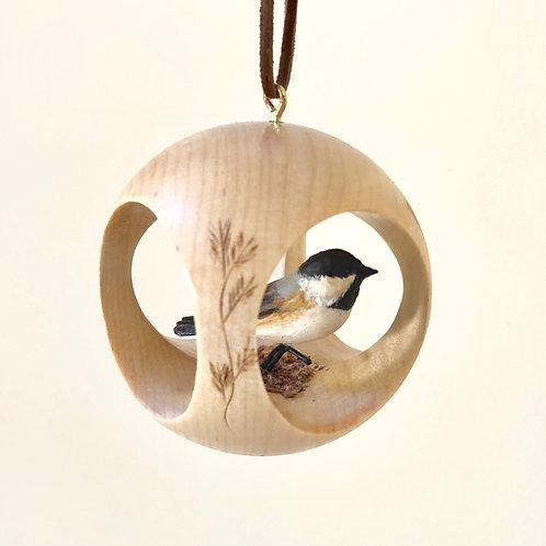 Chickadee Hand Carved Ornament