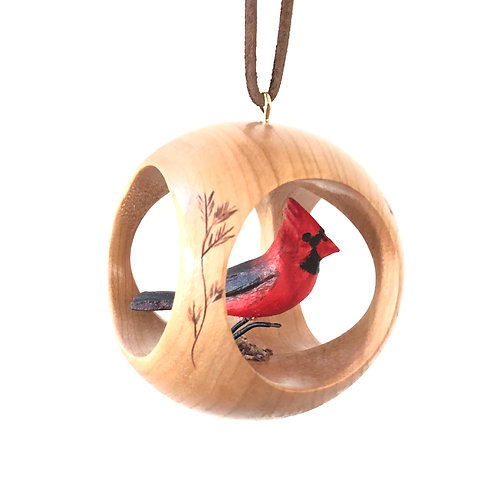Hand Carved Cardinal Ornament