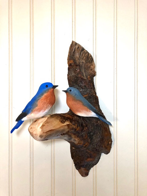 Eastern Bluebirds Wall Art Carving