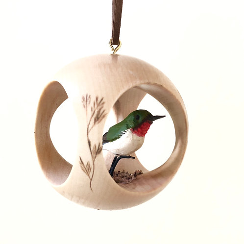 Hummingbird Hand Carved Ornament