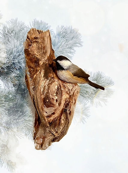 Black Capped Chickadee Wall Art Carving