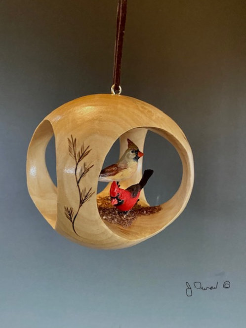 """""""Christmas Cardinals"""" Hand Carved Ornament"""