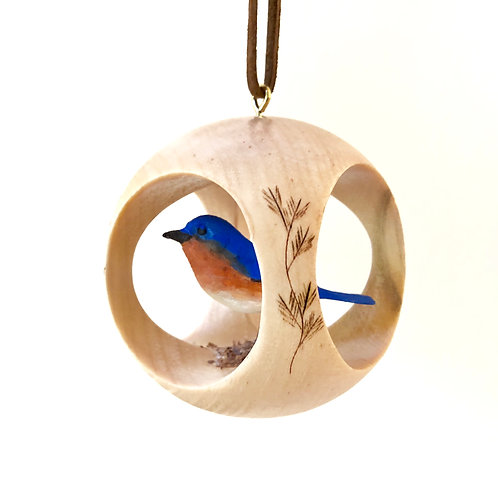 Bluebird of Happiness Hand Carved Ornament
