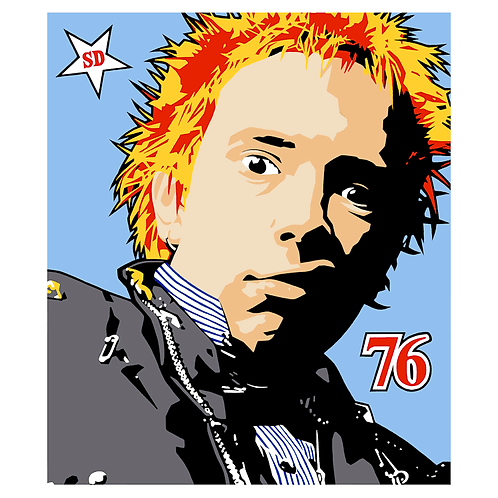 'Johnny Rotten 76' Limited Edition, Signed, Silk Screen Print,