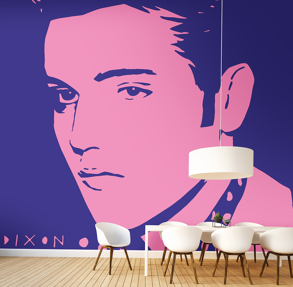 Elvis large scale wall covering in Pink and Purple