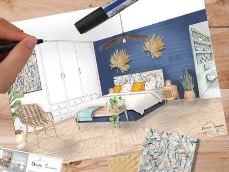 Chambre en bleu et bois de Florence et Loïc