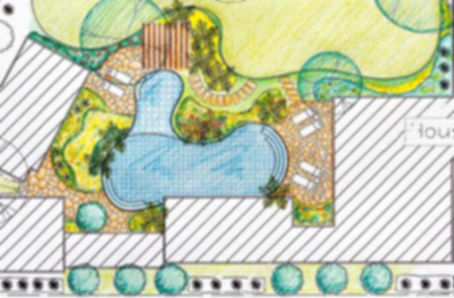 decoration exterieur paysagiste, plan 2D
