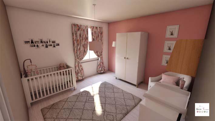APRES : Chambre bébé rose