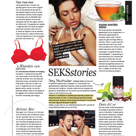 BELLA Magazine South Africa Features Intimate Earth's 'Discover' Serum In SEKSstories