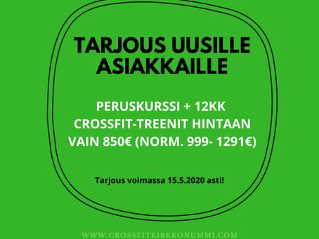 TARJOUS! PERUSKURSSI + 12KK TREENIT CROSSFIT KIRKKONUMMELLA NYT VAIN 850€ (VAIN UUSILLE ASIAKKAILLE)