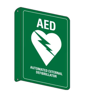 Emergency Information Sign - AED Flanged Wall Sign (Metal) H300mm x W225mm