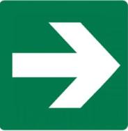 Directional Sign - Arrow Right Green (Luminous Self Adhesive Vinyl) H180mm x W18