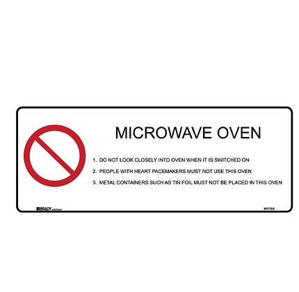 Kitchen/Food Safety Sign - Microwave Oven