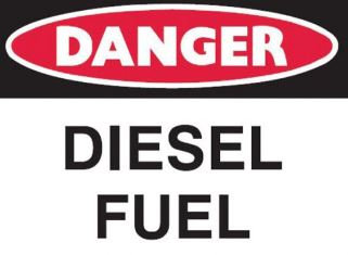 Small Stick On Labels - Danger Diesel Fuel (Self Adhesive Vinyl) H90mm x W125mm