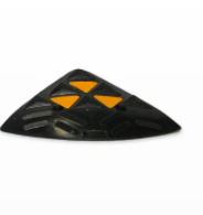 Kerb Ramp End Rubber - Black with Reflective