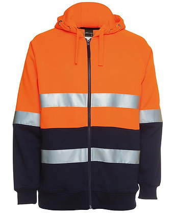 JB's 280gsm Fleece  Hoodie Full Zip HI Vis D/N c/w Tape