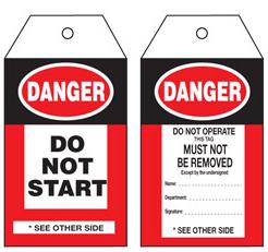 Danger Do Not Start Tag – STA001