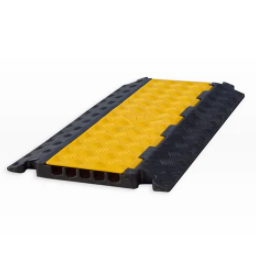 Cable Protector - 5 Channel - Rubber with Rubber/Plastic Lid - Black/Yellow