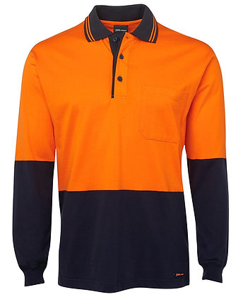 6CPHL—JB's Polo L/Sleeve Shirt  JB 100% Cotton Hi Vis
