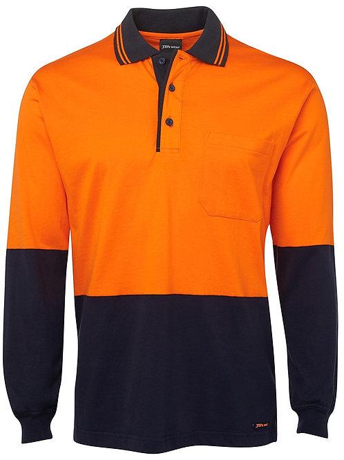 6CPHL—JB's Polo L/Sleeve Shirt  JB 100% Cotton Hi Vis
