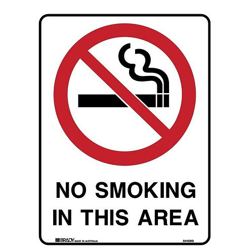 Prohibition Sign - No Smoking In This Area (Metal) H600mm x W450mm