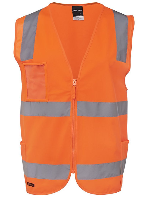 JB's Polyester  HI VIS Vest Class D/N, zip opening, plastic ID patch and