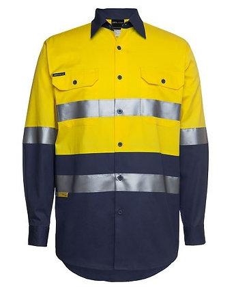 6DNWL Shirt---JB's Wear--HiVis L/S--D+N taped--150gsm  Yellow/Navy—Orange/Navy
