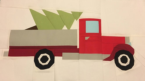 Christmas Vintage Truck with Tree Foundation Paper Piecing Pattern