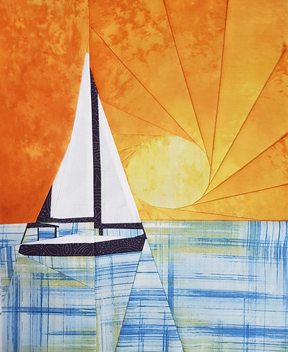 Sailboat at Sunset Foundation Paper Piecing Pattern