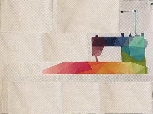 Rainbow Geometric Sewing Machine (Large Scale) Foundation Paper Piecing Pattern
