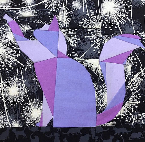 Cat Reaching Foundation Paper Piecing Pattern
