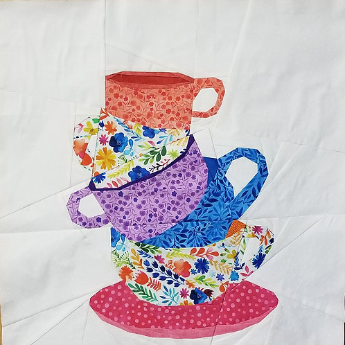 Stacked Teacups Foundation Paper Piecing Pattern