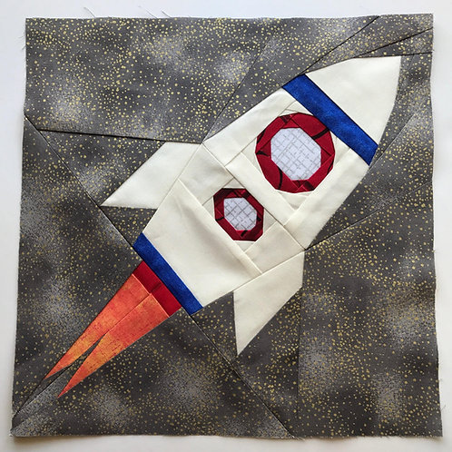 Rocket 3 Space Ship Foundation Paper Piecing Pattern