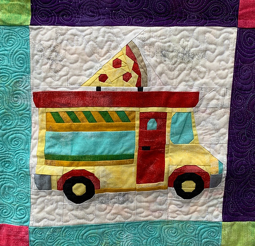 Pizza Food Truck Foundation Paper Piecing Pattern