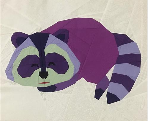 Racoon Sleeping Foundation Paper Piecing Pattern