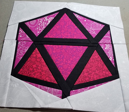 Gem or Dice D20 Foundation Paper Piecing Pattern