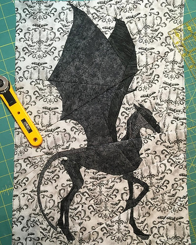 Thestral Harry Potter Mythical Creature Foundation Paper Piecing Pattern