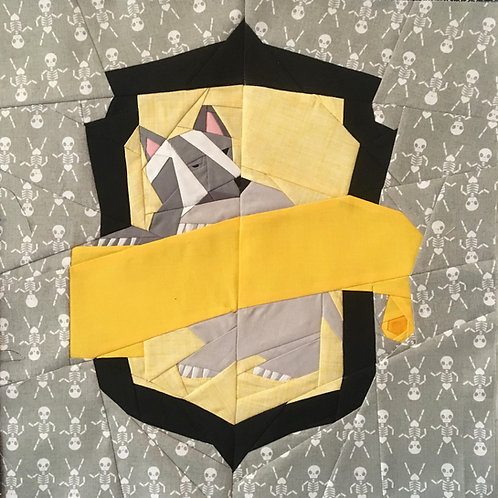 Hufflepuff House Crest Foundation Paper Piecing Pattern