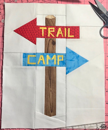 Trail Wood Sign with Words Foundation Paper Piecing Pattern