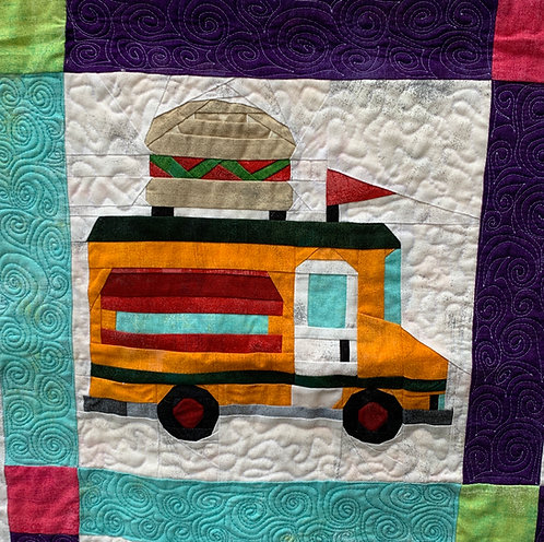 Burger Food Truck Foundation Paper Piecing Pattern