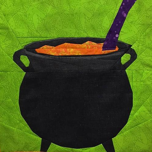 Cauldron Halloween Witch Wizard Foundation Paper Piecing Pattern