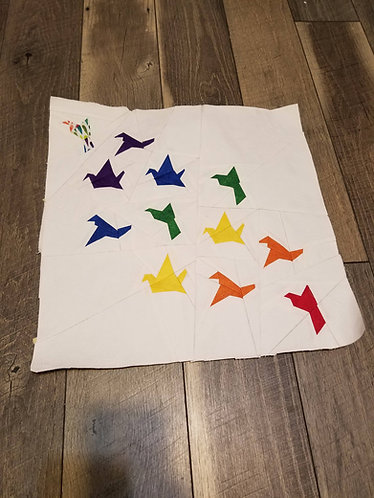 Flying Origami Cranes Foundation Paper Piecing Pattern