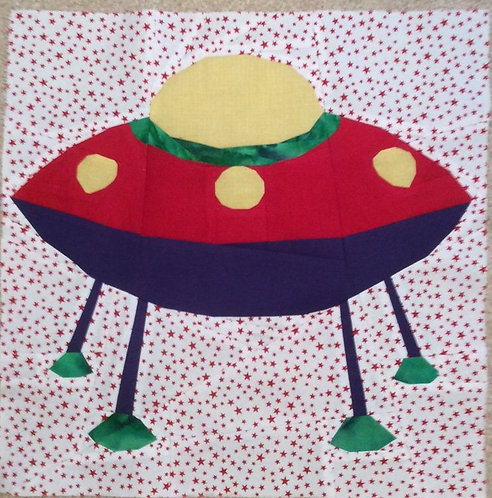 Flying Saucer Space Ship Foundation Paper Piecing Pattern