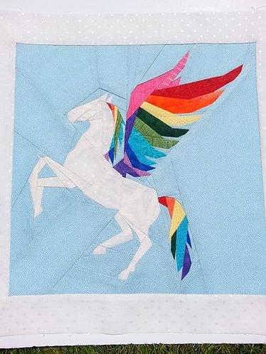 Pegasus Geometric Rainbow Foundation Paper Piecing Pattern
