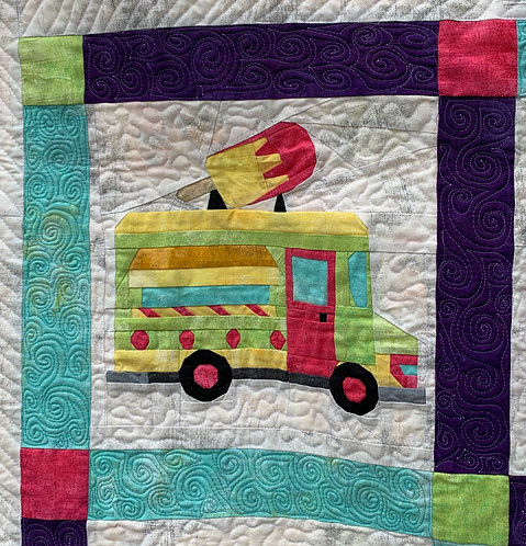 Ice Cream Food Truck Foundation Paper Piecing Pattern