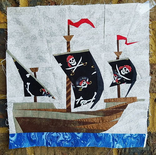 Vintage Ship Boat Pirate Foundation Paper Piecing Pattern