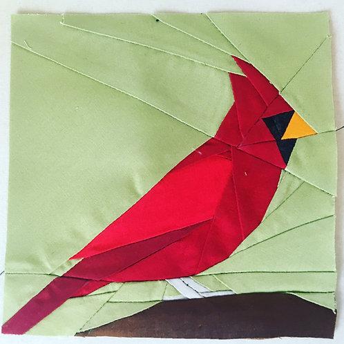 Cardinal Christmas Bird Foundation Paper Piecing Pattern