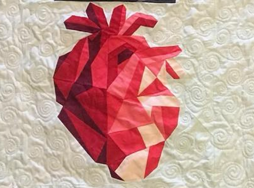 Geometric Heart Organ Foundation Paper Piecing